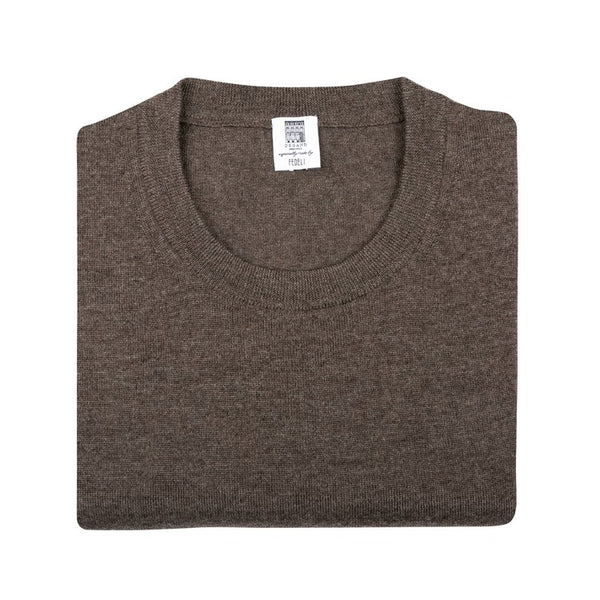 Long Sleeve Pullover - Crew neck - Chiné Brown