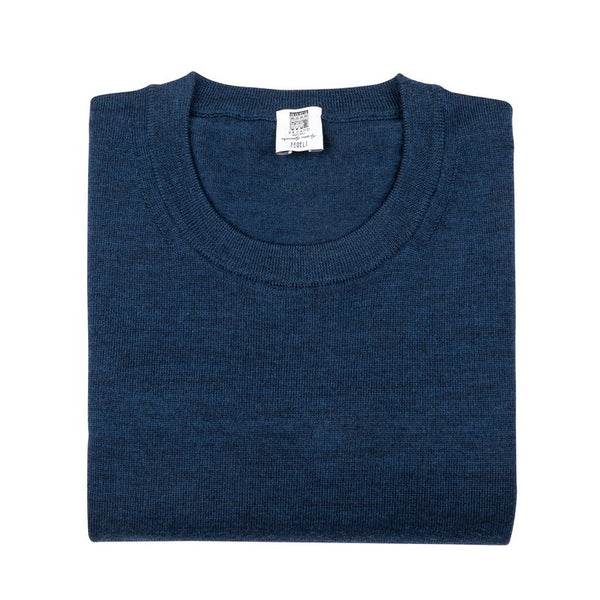 Long Sleeve Pullover - Crew neck - Indigo Blue