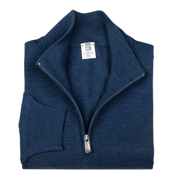 Long Sleeve Pullover - High Neck Zipped - Indigo Blue