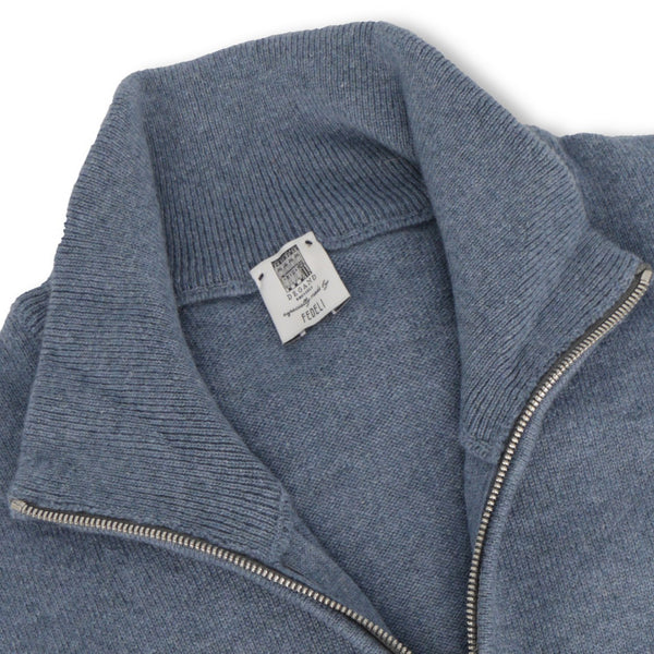 Jean Blue Favonio Cashmere Zipped Cardigan