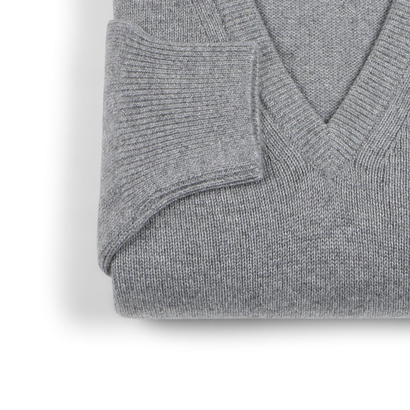 Grey Flannel Cashmere V-Neck Pullover
