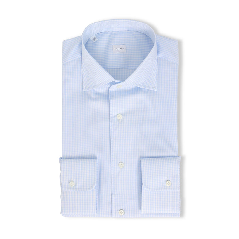 White and Blue Small Checks Shirt