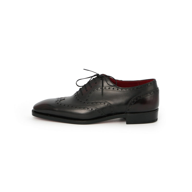 Wingtip Laced Oxfords in Black Leather - Burgundy Patinated