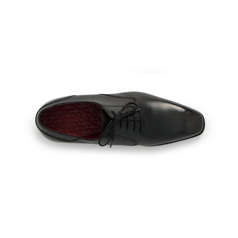 Balmoral Laced Oxford in Black Leather - Grey Patinated