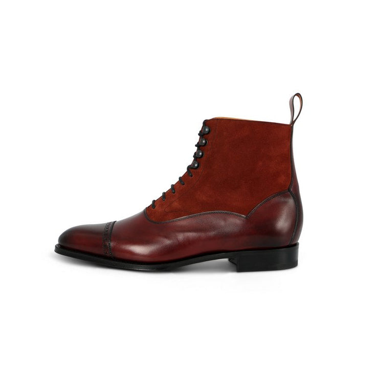 Shannon Boots in Burgundy Leather and Suede