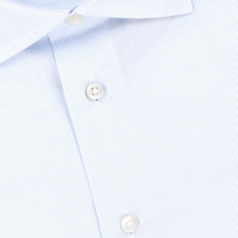 Striped White and Light Blue Double Cuff Shirt