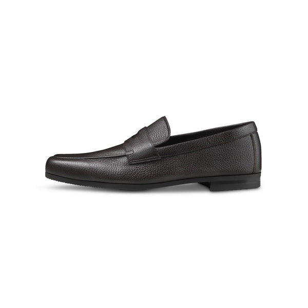 Thorne Loafers in Dark Brown Grained Leather