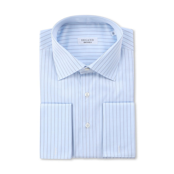 Striped Light Blue and Navy Double Cuff Shirt
