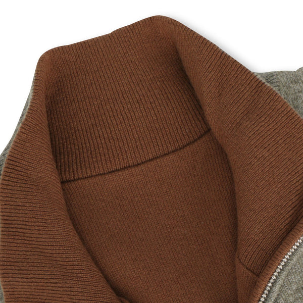 Camel and Vicuna Reversible Cashmere Zipped Cardigan