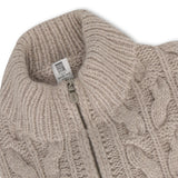 Twisted Beige Cashmere Zipped Pullover