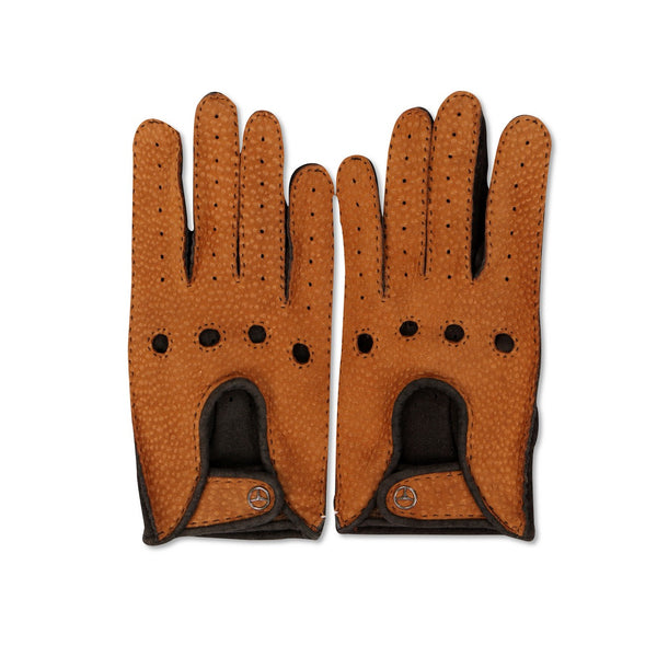 Deer and Pecari Camel and Brown Driving Gloves