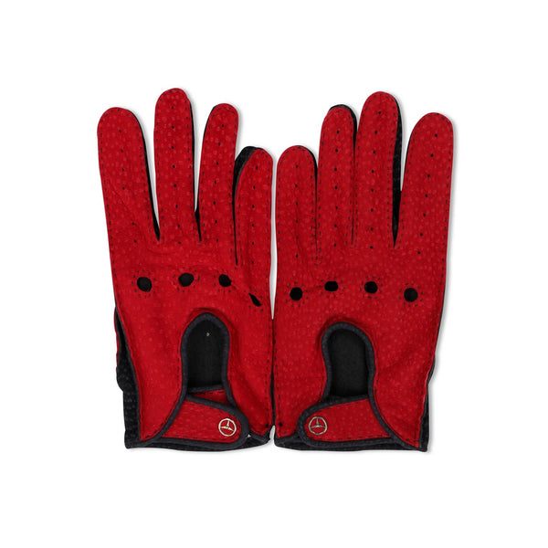 Deer and Pecari Red and Navy Driving Gloves