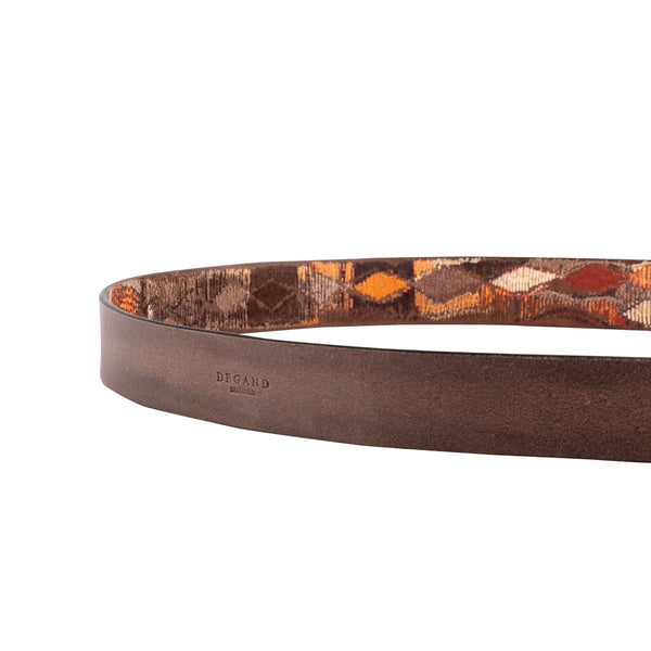 Brown Leather Embroidered Belt