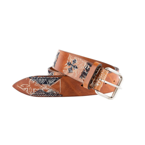 Natural Leather Embroidered Belt