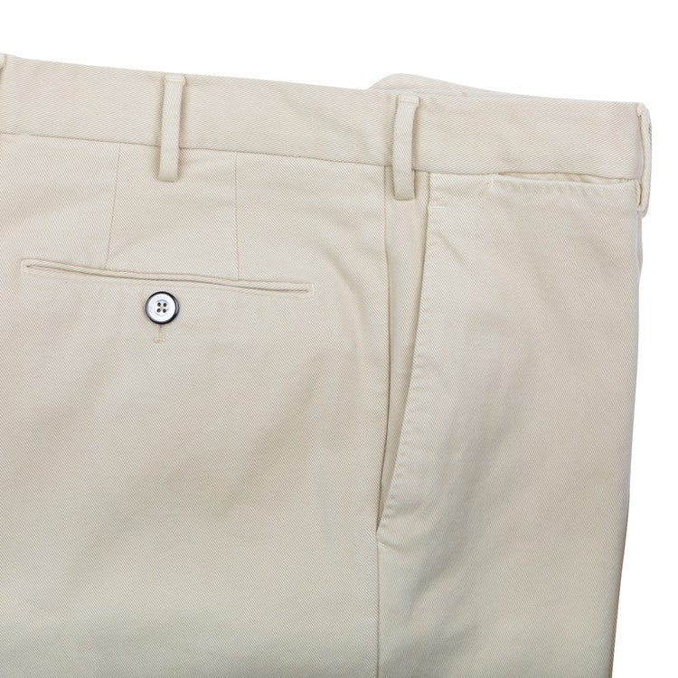 Twill Cotton Slim Pants – Beige