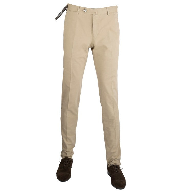 Microprinted Cotton Strech Pants – Beige