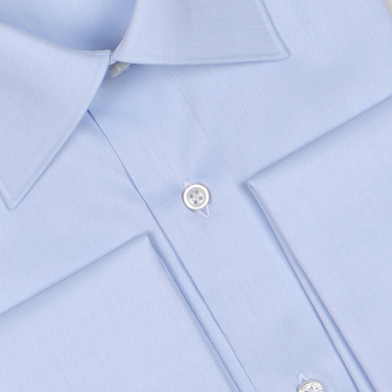 Plain Light Blue Linen Double Cuff Shirt