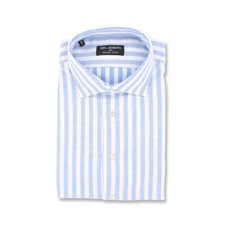 Large Striped White and Blue Slim Shirt