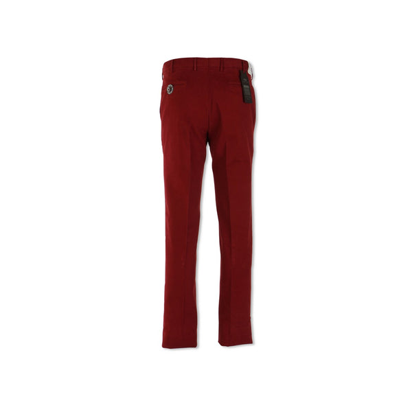 Burgundy Cotton Twill Slim Pants