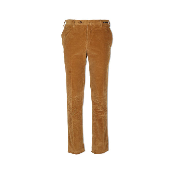 Camel Velvet Slim Trousers
