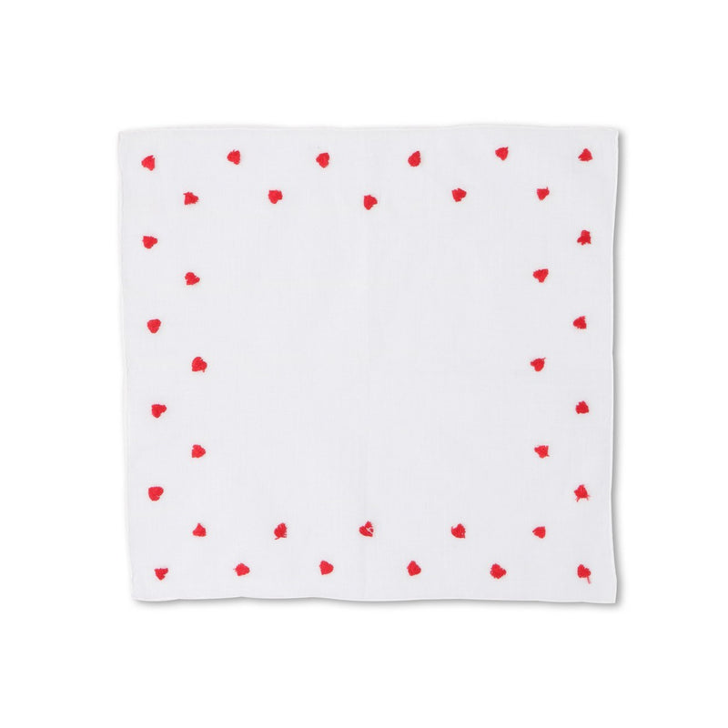 Hearts White Linnen Pocket Square