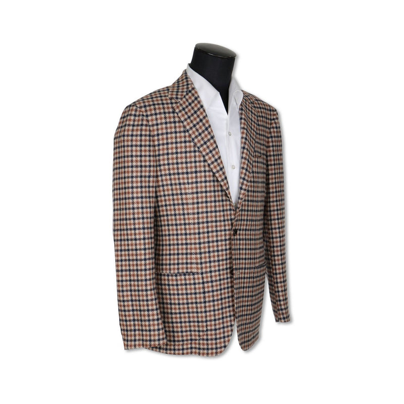 Checked Ecru Wool and Silk Jacket
