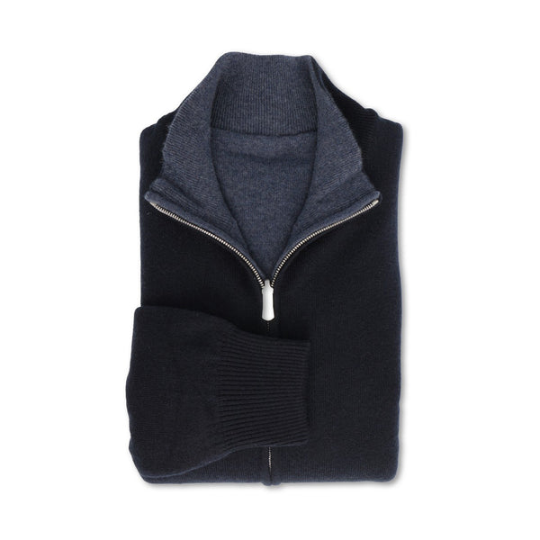 Navy Reversible Cashmere Zipped Cardigan