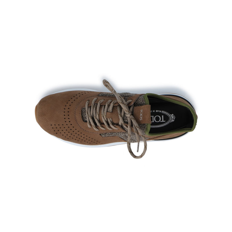 Sports Sneakers in Khaki and Green Nubuck