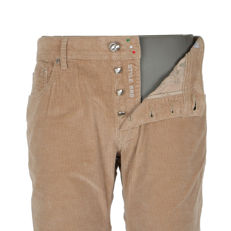 Beige Large Ribbed Corduroy 5 Pockets Pants