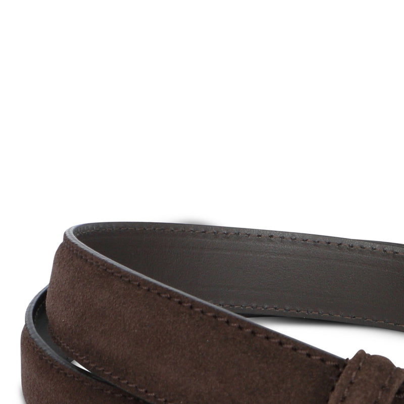 Dark Brown Nubuck Stitched Belt