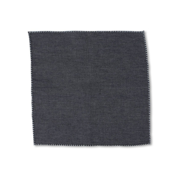 Plain Dark Denim Pocket Square
