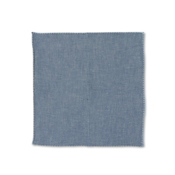 Plain Medium Denim Pocket Square