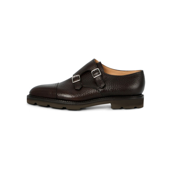 William Double Monk in Brown Grained Leather