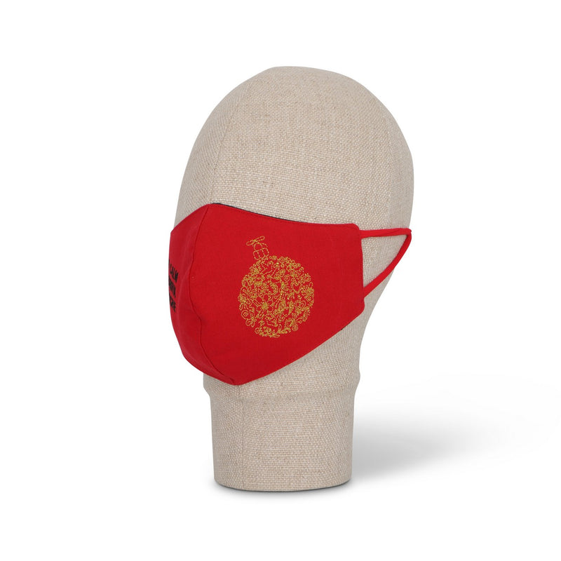 Embroidered Champagne and Christmas Bulb Face Mask