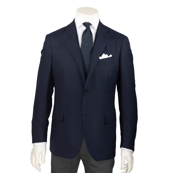 Hopsack Lined Wool Canvas Blazer - Navy