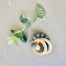Load image into Gallery viewer, Preorder | beechwood + silicone teether rattle | charcoal