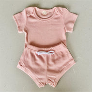 Preorder | Baby Set | Ribbed Two Piece with Bodysuit | Dusty Pink