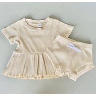 Preorder | Baby Set | Ribbed Two Piece with Peplum | Nude