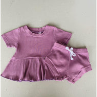 Preorder | Baby Set | Ribbed Two Piece with Peplum | Mauve