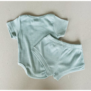 Preorder | Baby Set | Ribbed Two Piece with Bodysuit | Azure