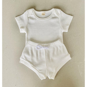 Preorder |  Baby Set | Ribbed Two Piece with Bodysuit | Milky White