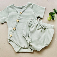 Load image into Gallery viewer, Preorder | short sleeve baby bodysuit with wood look buttons | ribbed | sage