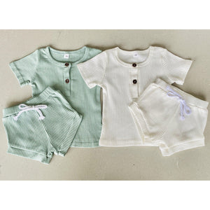 Preorder | Baby Set | Ribbed Two Piece with Buttons | Milky White