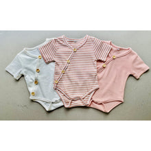Load image into Gallery viewer, short sleeve baby bodysuit with wooden look buttons  | ribbed | dusty pink