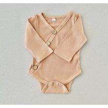 Load image into Gallery viewer, Preorder | long sleeve baby bodysuit with  | ribbed material | summer material | tan