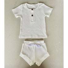Load image into Gallery viewer, Preorder | Baby Set | Ribbed Two Piece with Buttons | Milky White