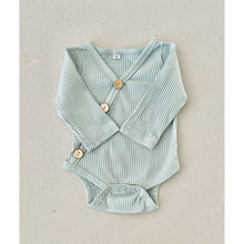 Load image into Gallery viewer, Preorder | long sleeve baby bodysuit  | ribbed material | summer material | sage