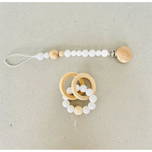 Load image into Gallery viewer, beechwood + silicone teether rattle | white