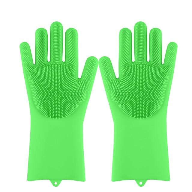 Magic Silicone Dishwashing Scrub Gloves - mokibunny