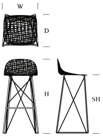 moooi carbon bar stool dimensions